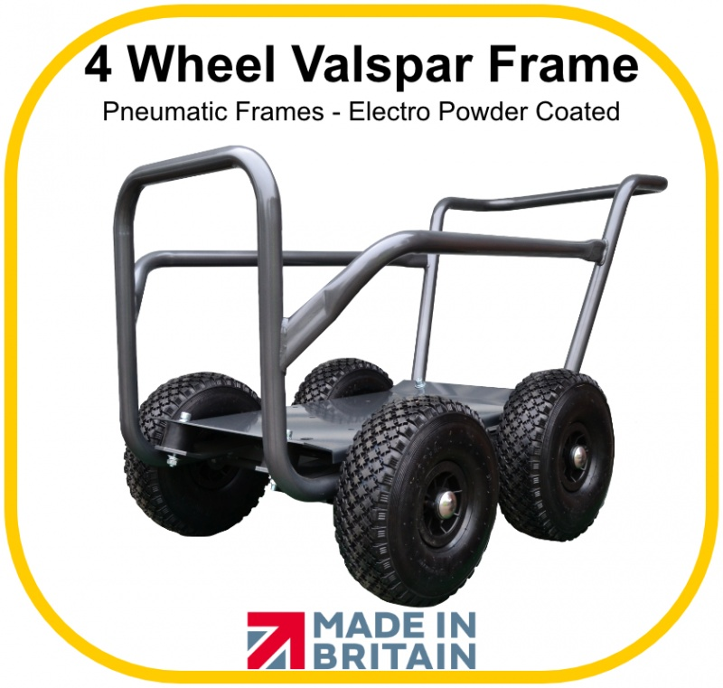 Grey Powder-Coated Valspar Wheelbarrow Trolley with Four Wheels