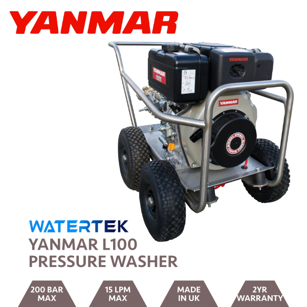 Watertek Pro Yanmar L100 15LPM 200 BAR Mazzoni Pressure Washer
