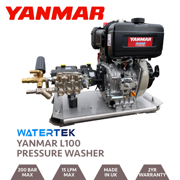 Watertek Pro Yanmar L100 15LPM 200 BAR Mazzoni Pressure Washer Skid