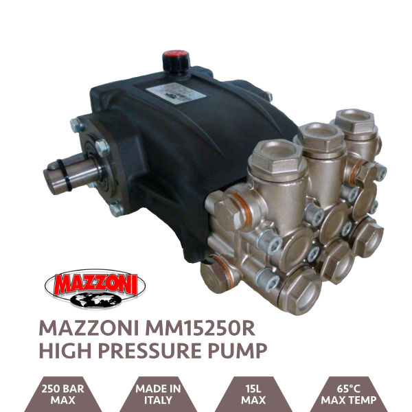 Mazzoni 15LPM 250BAR Male Shaft Pump