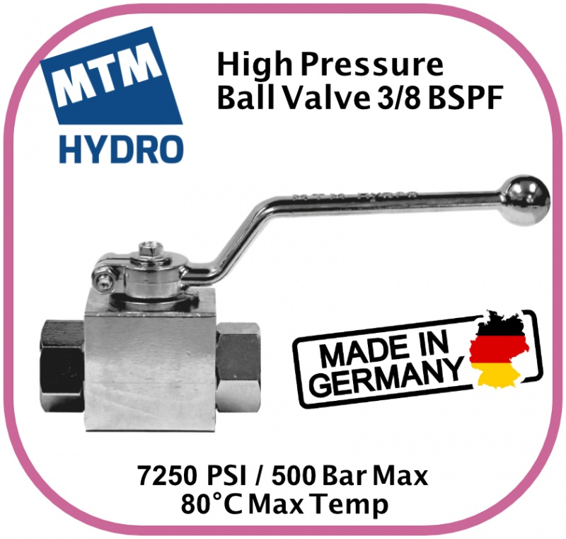 High Pressure Plated Steel Ball Valve with 3/8'' BSP Female x Female Threads