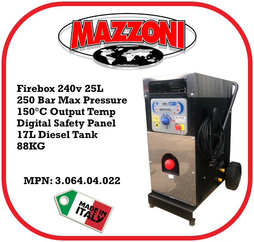 Mazzoni Firebox 250 bar @ 25 LPM 240v AC
