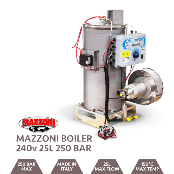 Mazzoni Boiler W/Control Panel and Digital Thermostat 250 Bar @ 25 LPM 240v DC