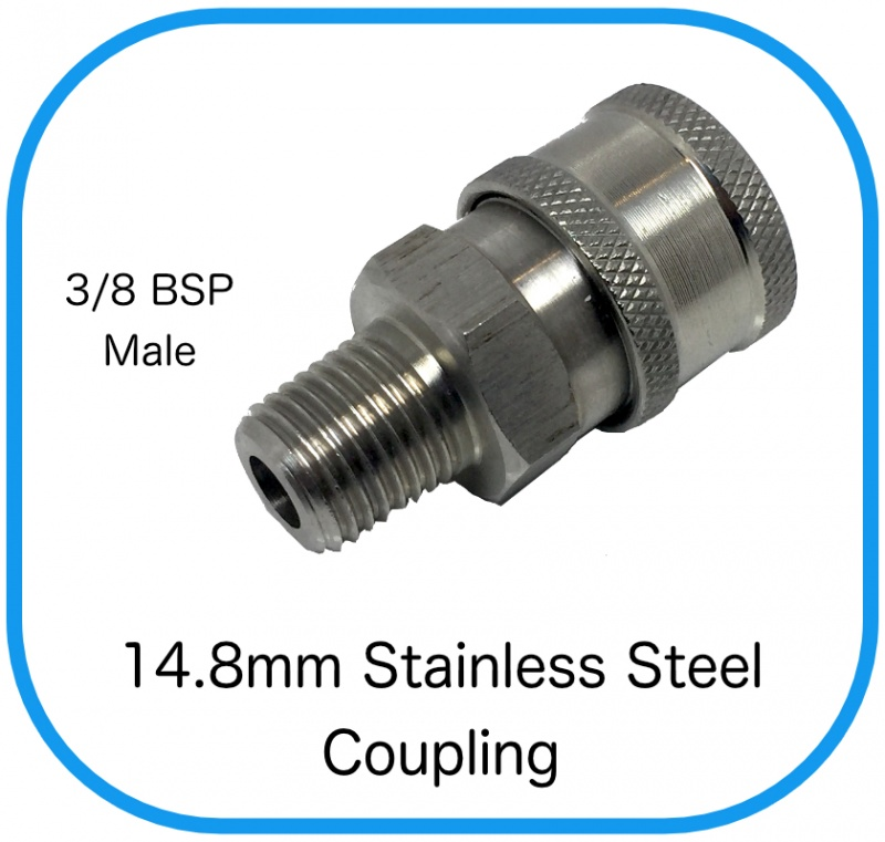 Midi Stainless Steel Female Coupling x 3/8'' Male BSP
