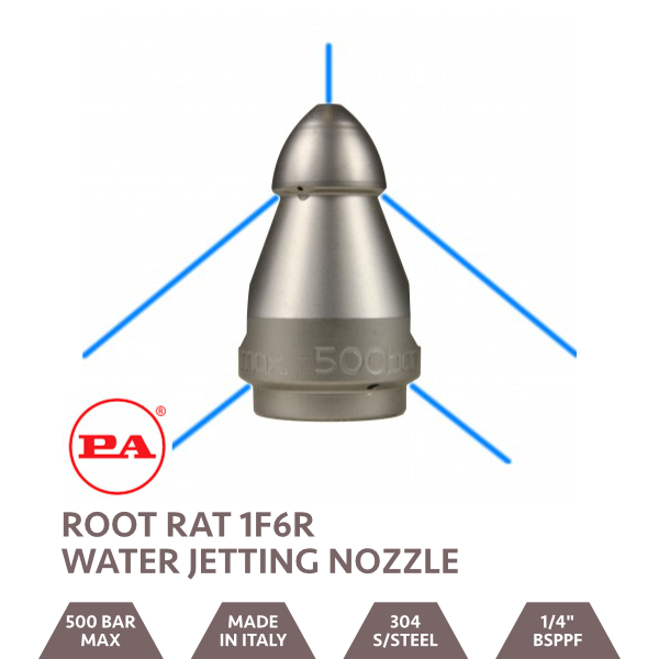 Root Rat Fixed Water Jetting Nozzle 1F6R 1/4 BSPPF