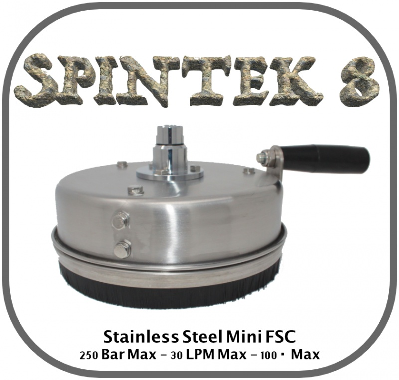 Spintek 8'' Stainless Steel Mini Flat Surface Cleaner with Handle
