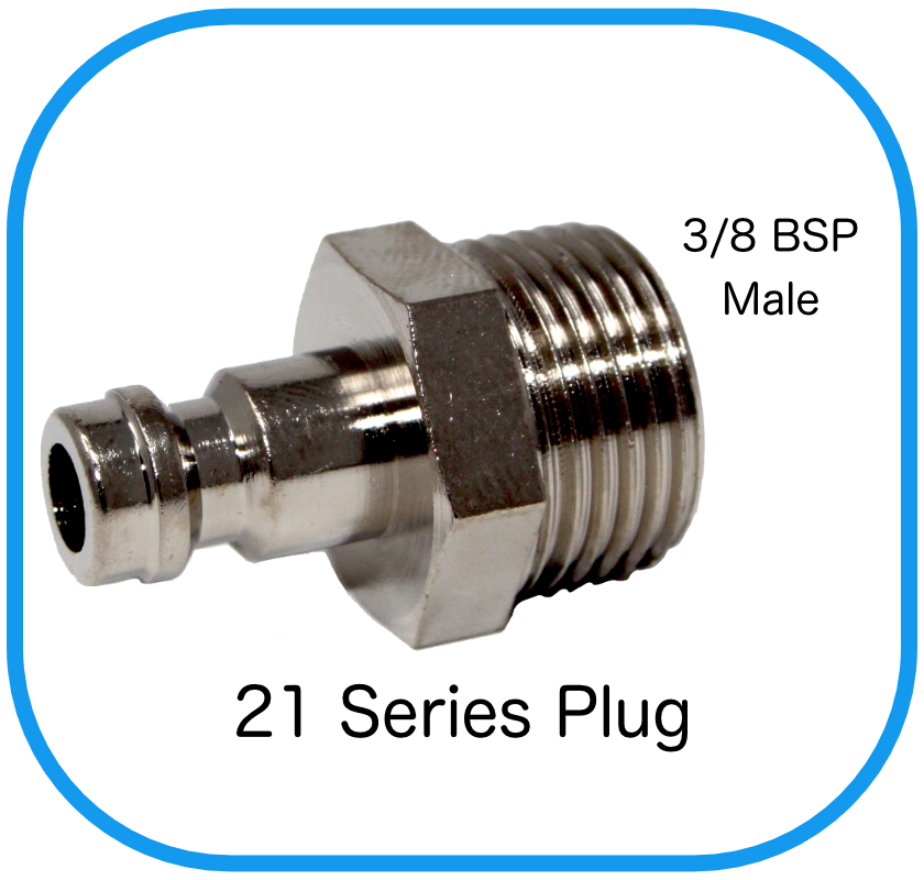 "Series 21 Rectus Compatible Male Plug x 3/8"" Male BSP"