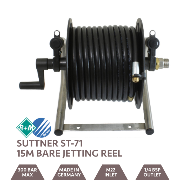 Jetting Reel Stainless Steel Bare - 15m Capacity R7