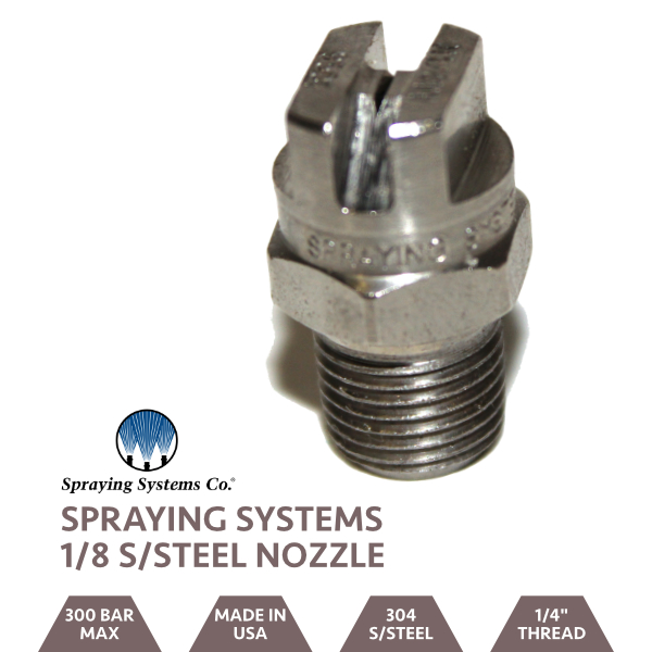 "Stainless Steel 1/8"" BSP Jet 0 Degree Nozzle"